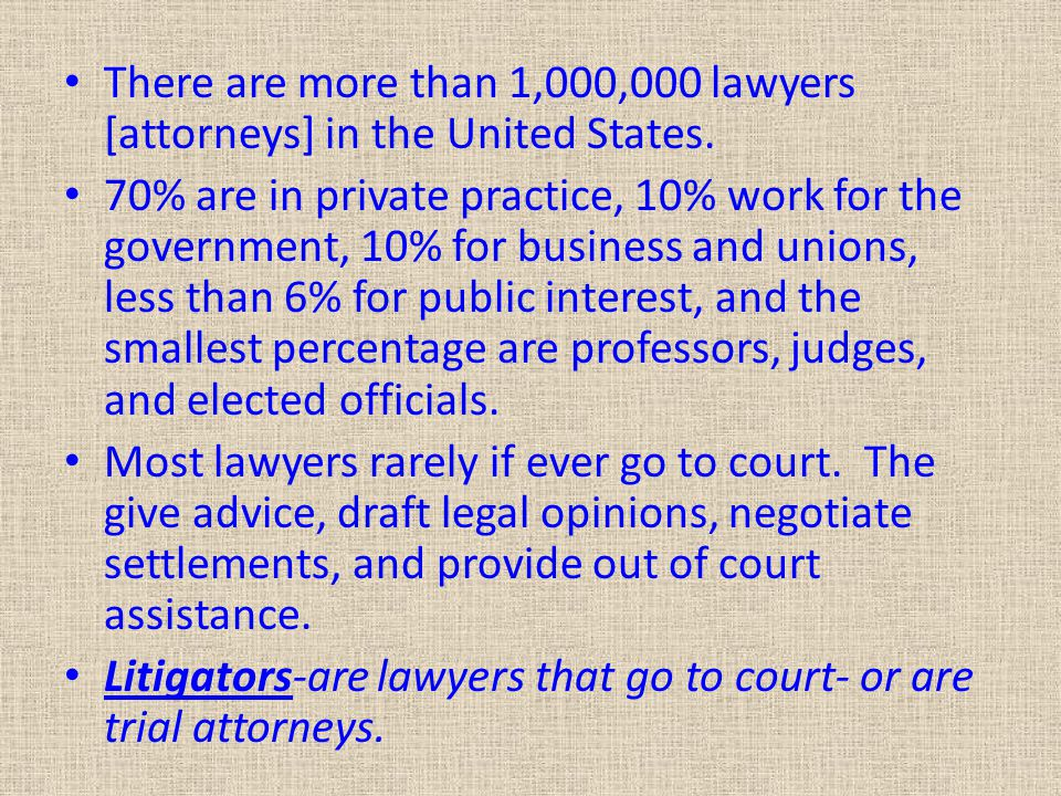 There are more than 1,000,000 lawyers [attorneys] in the United States.